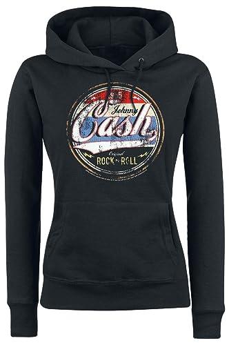 Johnny Cash Original Rock n Roll Jersey con Capucha Mujer Negro XL
