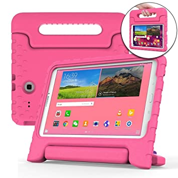 official photos f44c6 111ef Cooper Dynamo [Rugged Kids Case] Protective Case for Samsung Tab E 9.6 |  Child Proof Cover w/Stand, Handle | SM-T560 T561 T562 T563 T565 T567 (Pink)