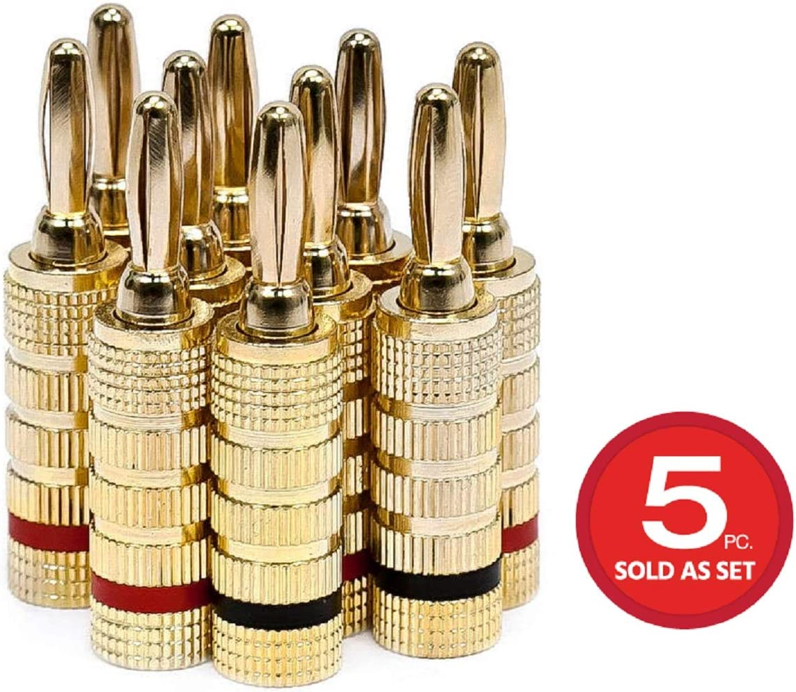 Monoprice 5 Pair Right Angle 24k Gold Plated Banana Speaker Wire Cable Screw Plug Connectors