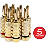 Monoprice 109436 Gold Plated Speaker Banana Plugs – 5 Pairs – Closed Screw Type, For Speaker Wire, Home Theater, Wall…