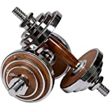 PROIRON Dumbbell Set Walnut-Steel Designed Dumbbells Set 20kg Adjustable Dumbbell Weights For Gym Office Home (Pair)