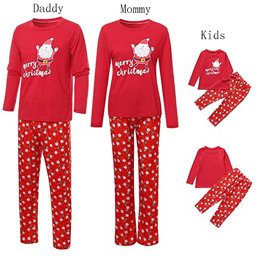 f8df2b78e9 GzxtLTX Christmas Family Matching Pajama Set Daddy Mommy and Me Red Santa  Claus Printed Merry Christmas