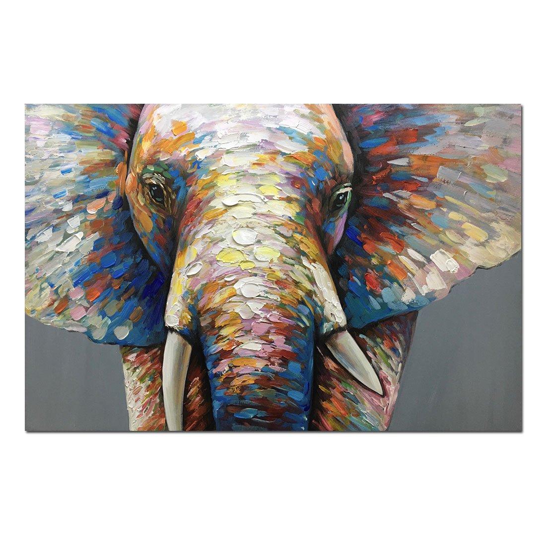 Fasdi-ART Oil Painting 100% Hand-Painted Art Knife Decoration Abstract Nice Colorful Animal Elephant 60X90CM on Wood Frame