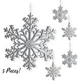 "Large Snowflakes - Set of 5 Silver Glittered Snowflakes - Christmas Snowflake Ornaments Approximately 12"" D"
