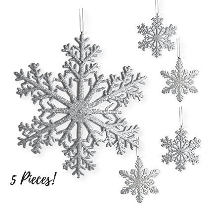 amazon com large snowflakes set of 5 silver glittered snowflakes