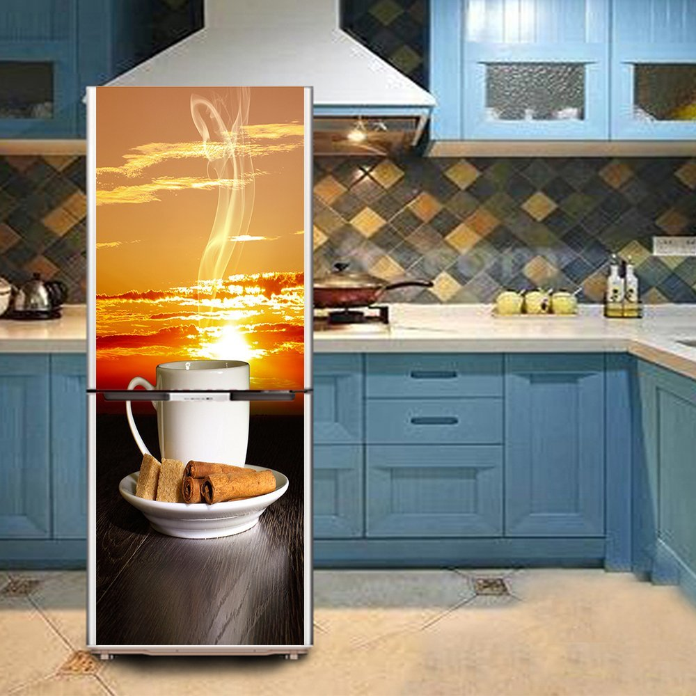 yazi Creative Afternoon Tea Drawing Removable Kitchen Refrigerator Door Cover 23.7x59inches