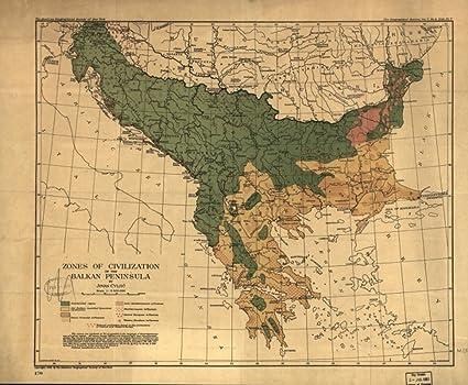 Amazon.com: 1918 map of Balkan Peninsula Zones of civilization of ...