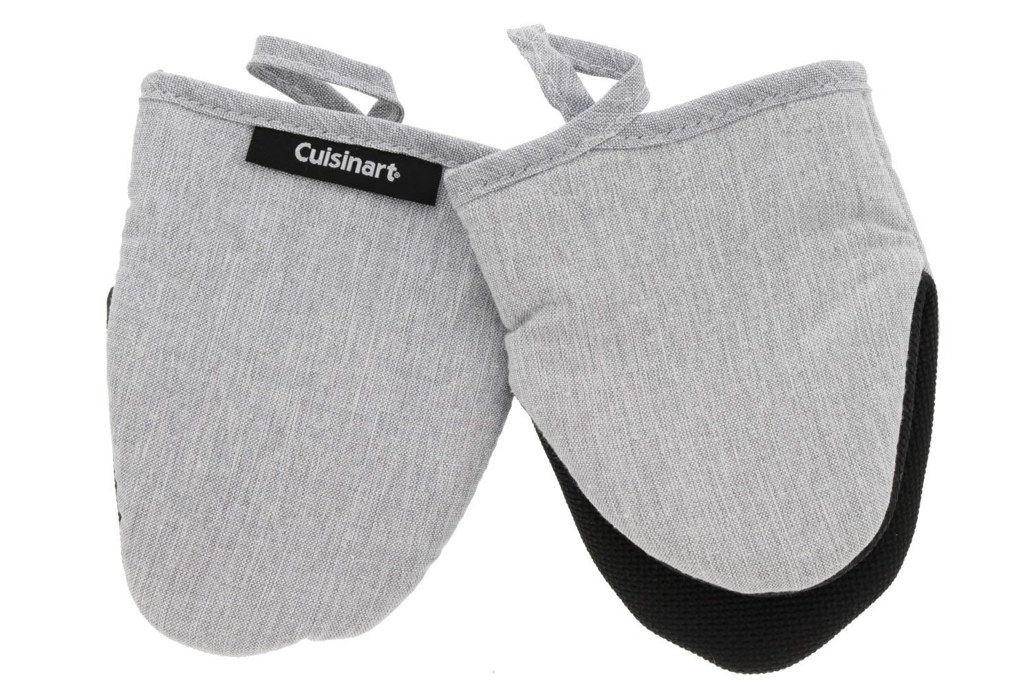 Cuisinart Mini Oven Mitts w/Neoprene for Easy Gripping, Chambray Kitchen Glove Accessory, Heat Resistant up to 500 Degrees F, 5.5 x 7 inches, Set of 2 – Light Grey