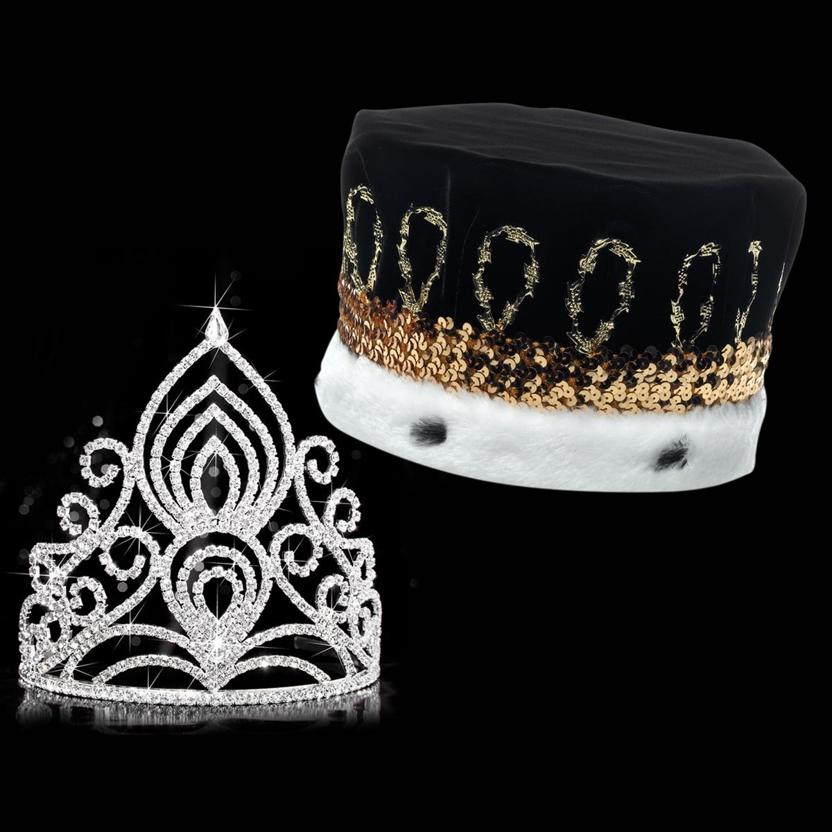 Amelia Royalty Set, 5 ½ inches High Amelia Tiara and Black Velvet Crown with Gold Sequins, White Fur