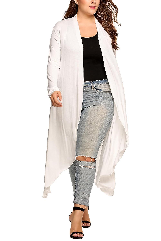 Opino Womens Long Sleeve Asymmetric Drape Open Front Cardigan Sweater Plus Size