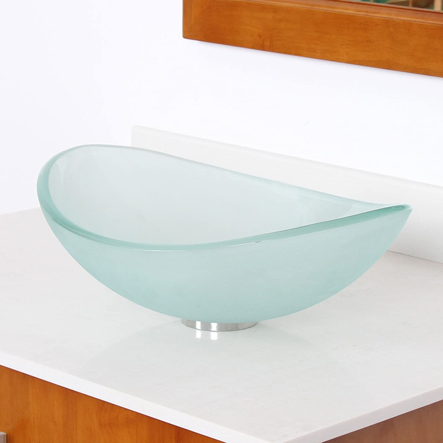Mini Tempered Glass Boat Shaped Oval Bowl Bottom Vessel Bathroom Sink Sink  Finish: Frosted     Amazon.com