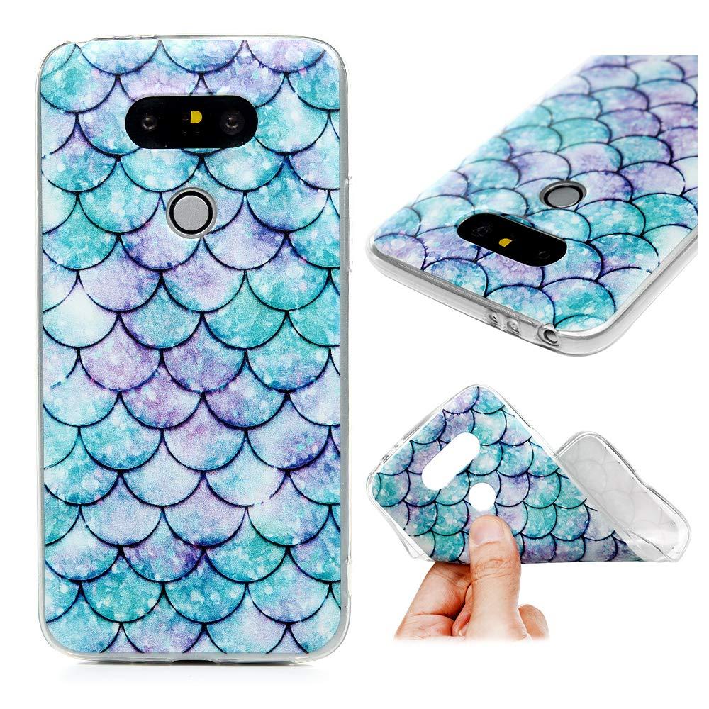 LaVibe /Étui Gel Silicone TPU Transparant Protecteur Housse Anti-Rayures Pare-Chocs Bumper Souple Ultra Slim Flexible Soft Case Cover Coque LG G5 /Écaille de Poisson Bleu Pourpre