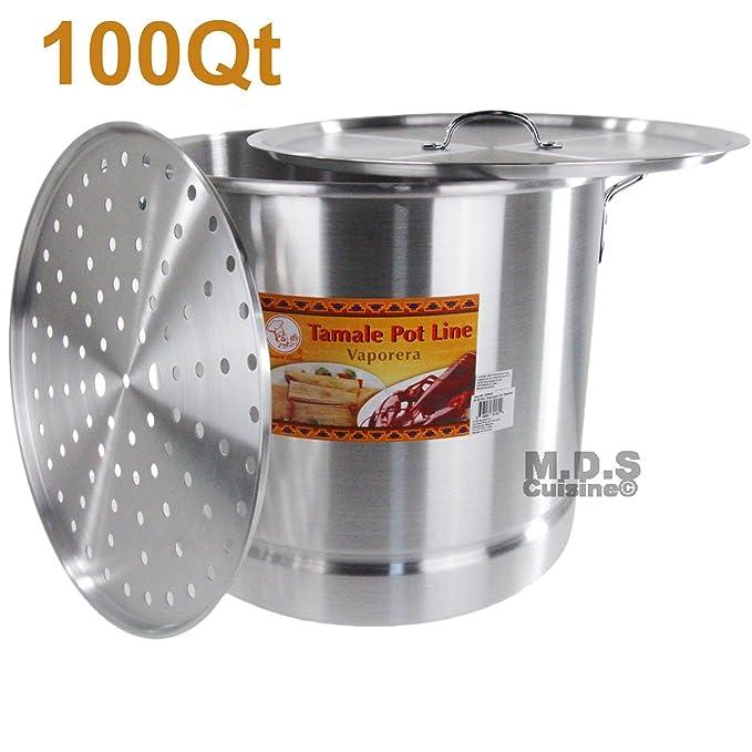 Tamal 100 QT vapor vaporera Olla Premium aluminio Tamalera 25 litros nuevo: Amazon.es: Hogar