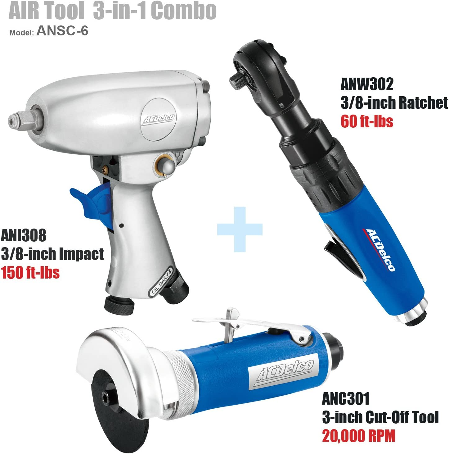 ACDelco ANW302 3//8-inch Air Ratchet Wrench 60 ft-lbs
