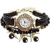 Top Plaza Ethnic Style Womens Wrap Around Watch Rhinestone Beaded Charm Layer Quartz Bracelet Watch