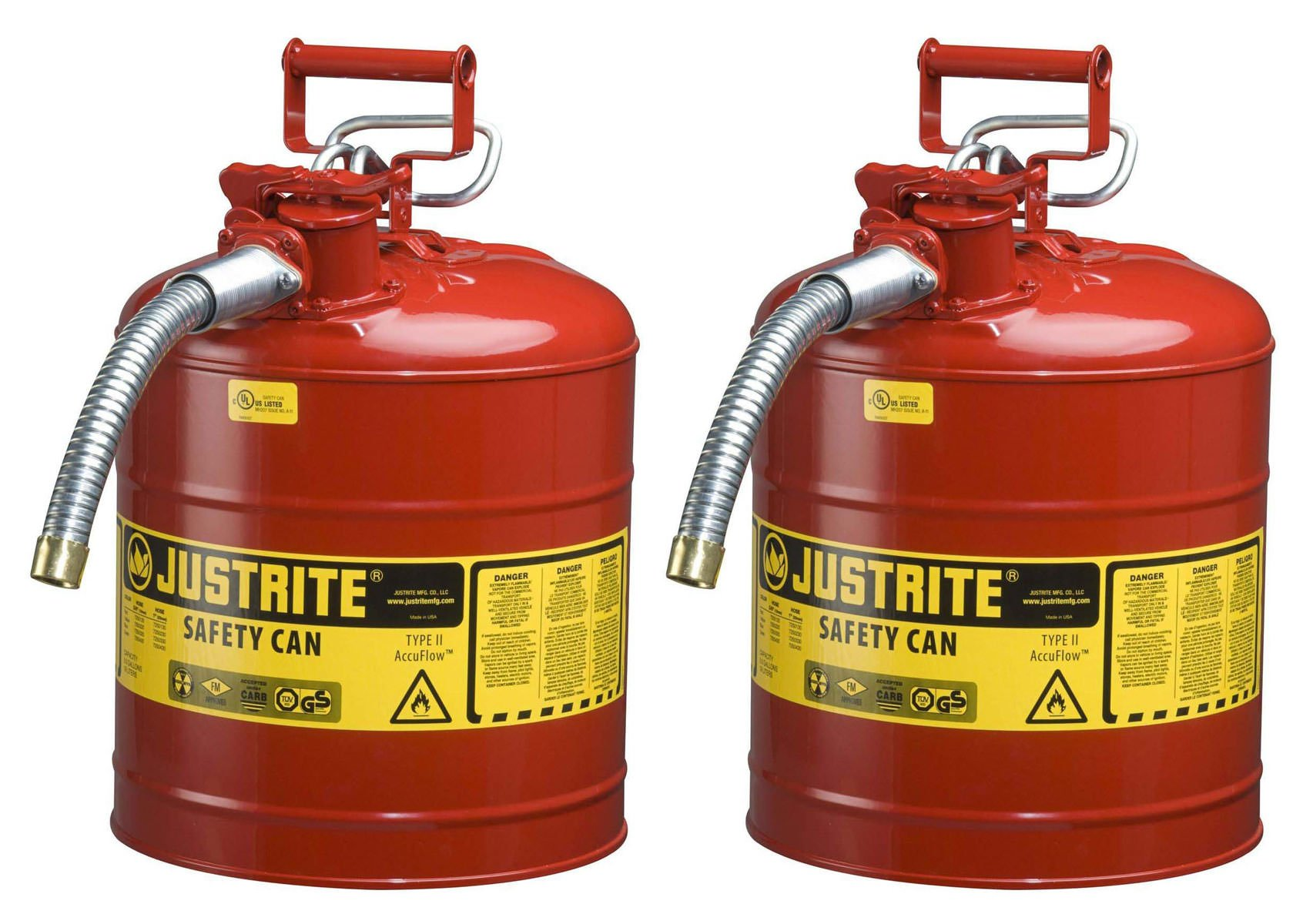 Justrite 7250130 Galvanized Steel, AccuFlow Type II Red Safety Can with 1'' Flexible Spout, Meets OSHA & NFPA For Handling Hazardous liquids, 2 Cans