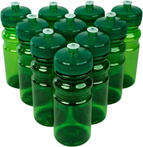 CSBD Blank 20 oz Sports and Fitness Water Bottles, BPA Free, PET Plastic, Made in USA, Bulk, 10 Pack