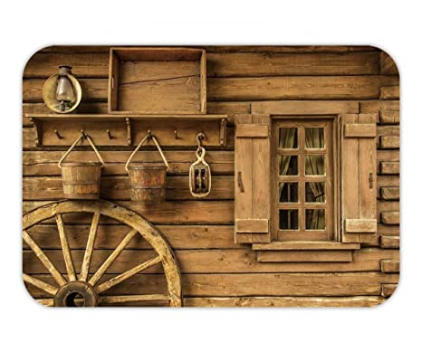 Beshowere Doormat Detail Of Old Wagon Wheel Next To A Wooden Wild West  Typical House_