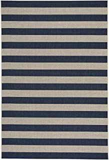 "product image for Capel Rugs Elsinore-Stripe Woven Rug - Midnight Blue - 7' 10"" x 11' - Rectangle"