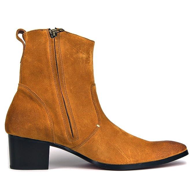 Botas de Hombre Botas de tacón Alto Zapatos de Vestir de Hombre Botas con Cremallera OZ-JY002: Amazon.es: Zapatos y complementos