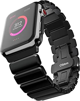 Oittm Acero Inoxidable Correa para Apple Watch Series 3 42mm / Apple Watch Series 1 42mm / Apple Watch Series 2 42mm / Apple Watch Nike + 42mm (Negro Brillante): Amazon.es: Electrónica