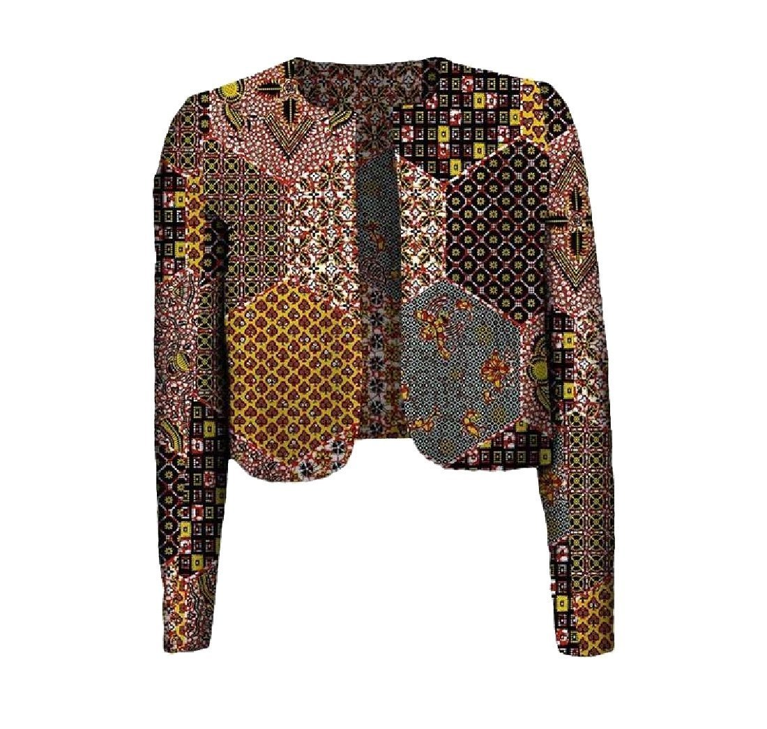Tootless Women's Africa Floral Printed Coat Batik Crop Top Dashiki Cardigan 8 L
