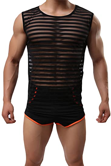 2ec62b9bff58c CZXING Sexy Tank Top Plus Size Men Transparent Mesh Vests at Amazon ...