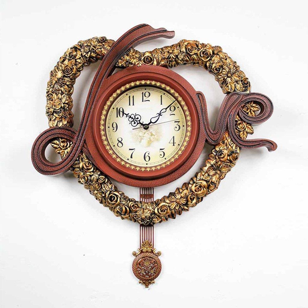 GRJH® ヨーロッパスタイルのミュート時計と時計アメリカンスタイルのアンティーク時計リビングルームの寝室のアートウォールクロック結婚式のウォールクロック クリエイティブファッションシンプル ( 色 : #1 ) B07CNWVT7P#1
