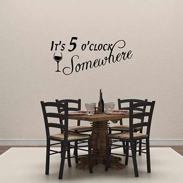 Empresal It's 5 O'clock Somewhere Vinyl Wall Decal Quote Funny Kitchen Dining Room Sticker Bar Restaurant Decor Drink Art