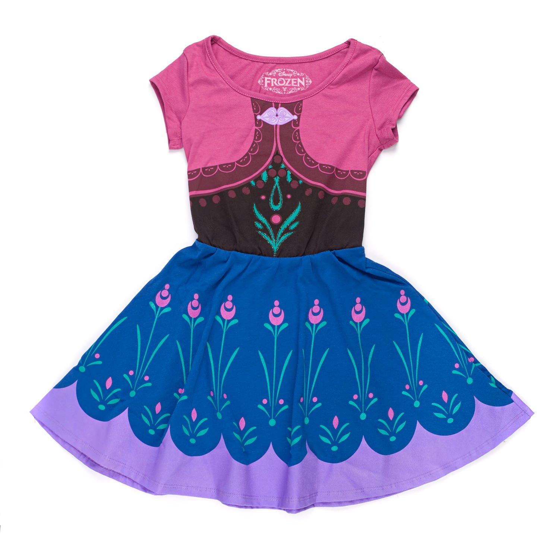 Disney Frozen I Am Elsa Anna Girls Skater Dress (Large, Anna)