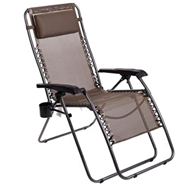 Timber Ridge Zero Gravity Lounge Chair Oversize Recliner for Outdoor Beach Patio Pool Support 300lbs