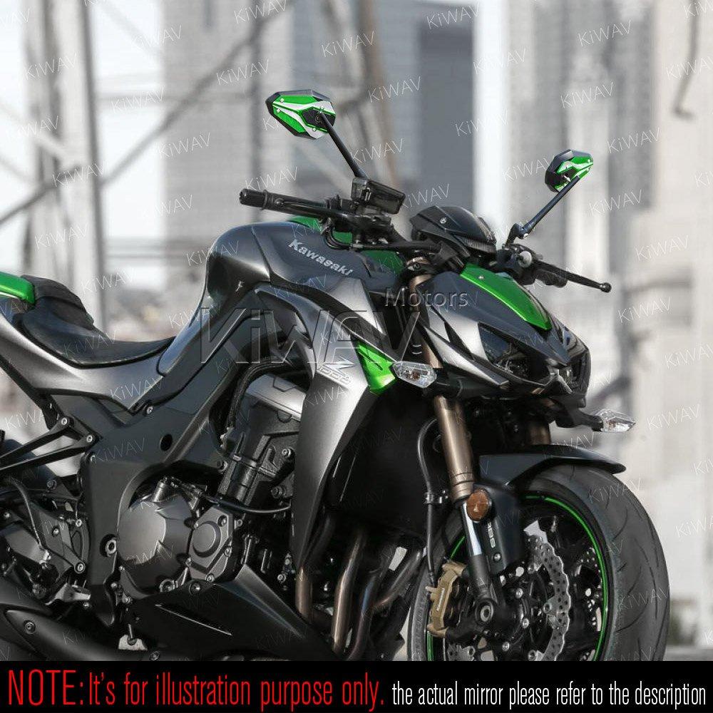 KiWAV ViperII ESPEJOS RETROVISOR verde moto convexo mirrors green Emark Par para Harley y Metric 10mm Magazi