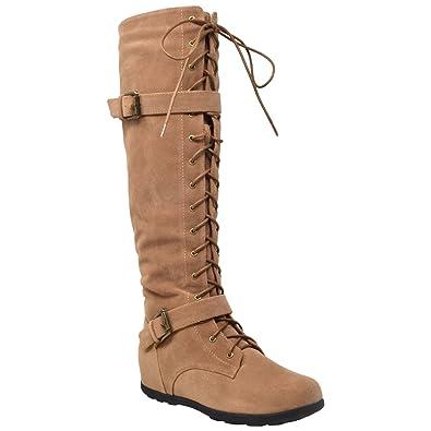 63097489b9f Generation Y Womens Boots Knee High Block Heels Lace Up Combat Buckle Strap  Zipper Closure Shoes
