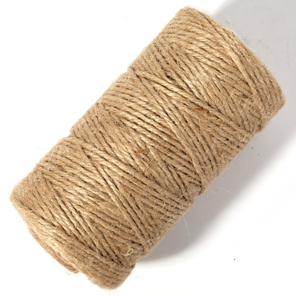 Newtrend 300 feet Nature Jute Twine Zakka Packing String for DIY Craft Packing Pink Decoration and Gardening,3Ply Durable String and Eco-Friendly