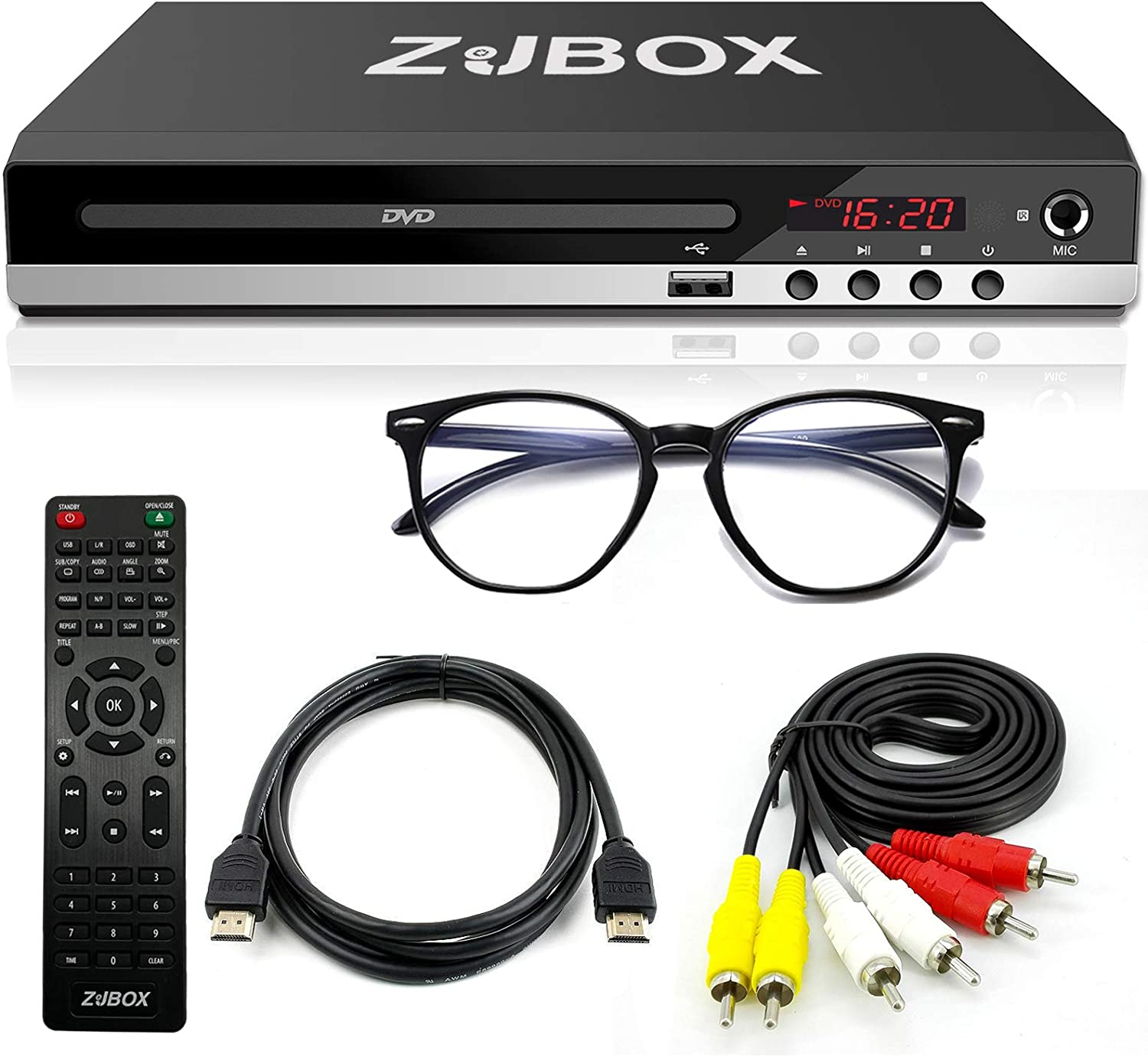 DVD Player, Compact DVD Player for TV with HDMI/AV Outputs, HDMI 2.0 & AV Cable Included, All Region DVD Player Support 1080P Full HD USB Multimedia Player Function for Home, Upgrated Remote Control