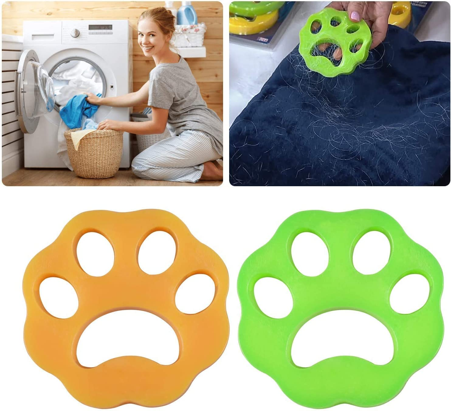 FUZPP Pet Hair Remover for Laundry,Dogs and Cats Hair Catcher for Washing Machine,Non-Toxic Safety Reusable Floating Pet Fur Catcher, Laundry Lint and Fur Remover-2 Pcs