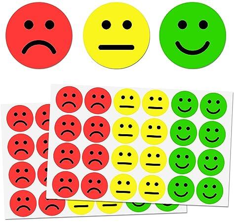 Amarillas Feliz y Rojas Pegatinas de Cara Triste Paquete a Granel, 19 mm 3/4 Pulgadas Etiquetas de Puntos Circulares, 2 Caras, 500 por Cara: Amazon.es: Oficina y papelería