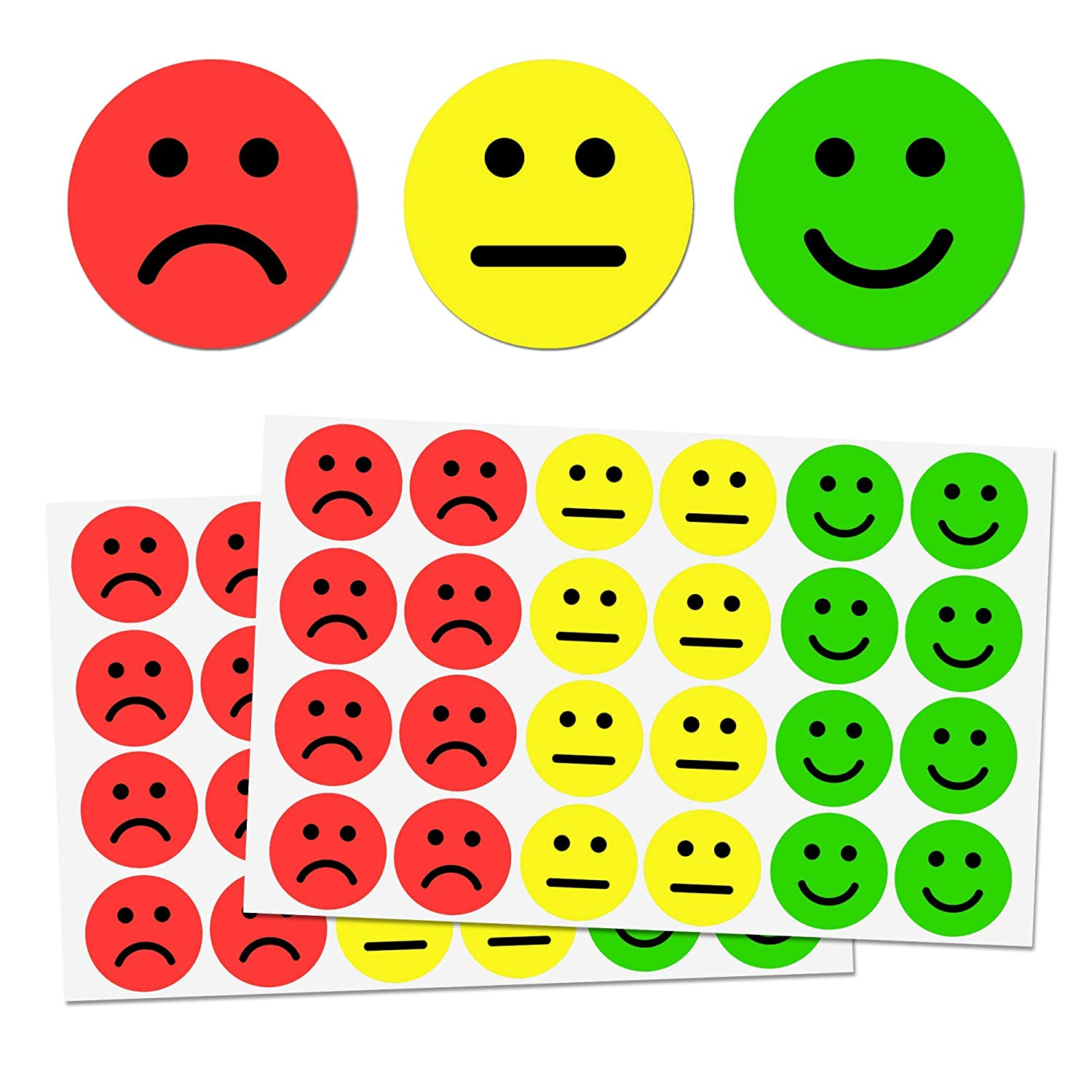 "1"" Happy/Sad Smiling Face Stickers - 3 Colors (Red/Yellow/Green), Pack of 1200 71DpYzMHMAL"