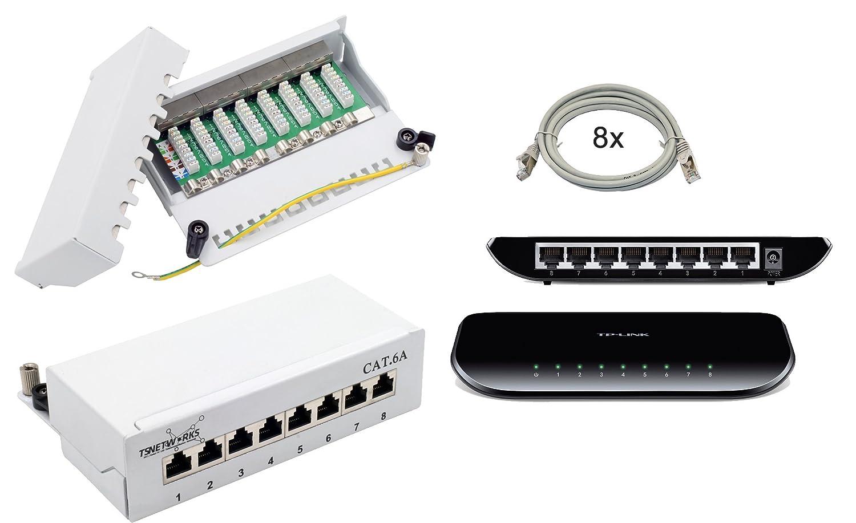 Netzwerk Set - CAT 6A 8Port Patchpanel/Patchfeld FTP 8 x RJ45 10GBit ...