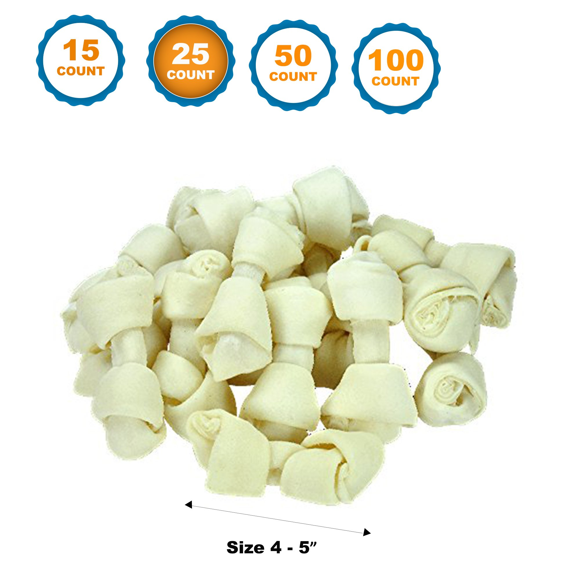 123 Treats 4-5 inch Rawhide Bones for Dogs   Premium Rawhide Bone Chews   Free Range Grass Fed Cattle with No Hormones, Additives or Chemicals (25)