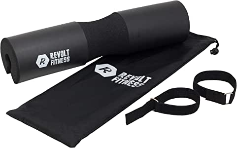 Revolt Fitness Squat Barbell Foam Pad Protects Shoulders Neck for Lunges, Squats, Hip Thrusts, Weight Lifting w/Free Resistance Bands Set