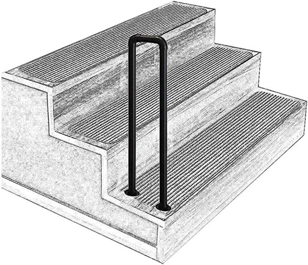 Tianboy_quilt Barandilla de Hierro Forjado en Forma de U, escalón Mate Barra de Escalera de Tubo galvanizado Negro, Seguridad para Ancianos en Interiores o Exteriores Barra de Apoyo Antideslizante