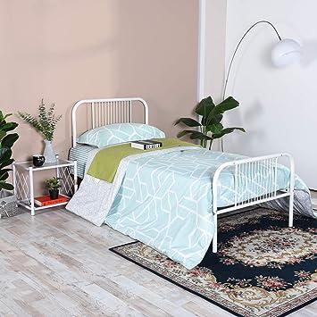 aingoo lit simple 90x190 cm base de cadre de lit en metal avec tete de lit
