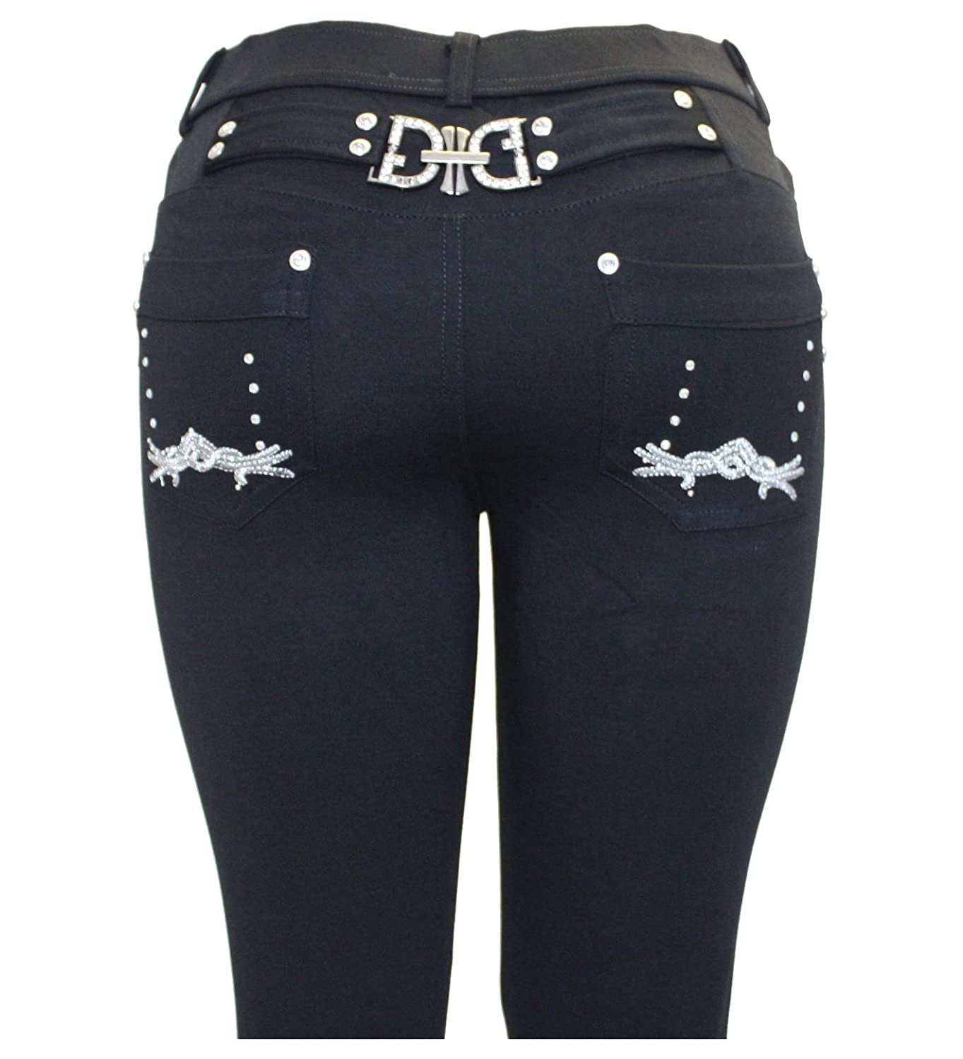 New Ladies Womens Black Fashion Stretchy Skinny Buckle Jegging Jeans Leggings 8-26