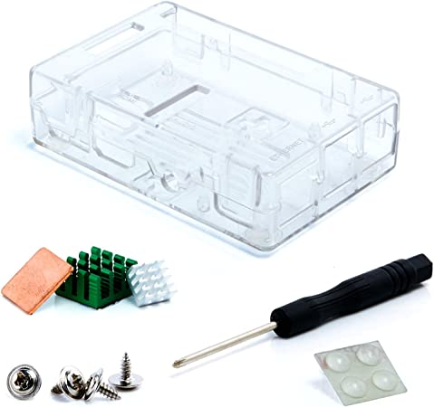 Aukru Transparente Caja para Raspberry Pi 3 Model B y Pi 2 Model B/B+ (B Plus) con 3X disipador de Calor: Amazon.es: Informática