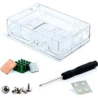 Aukru transparent Gehäuse/ Case für Raspberry Pi 3 (die neueste Version 2016) und Pi 2 Model B / Model B+ Mit 3 set Kühlkörper