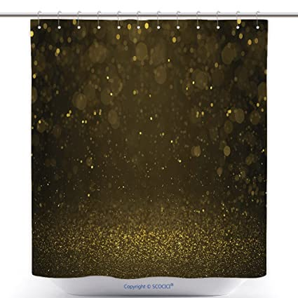 Vanfan Cool Shower Curtains Highlighted Bokeh Gold Sparkle Glitter Background Defocused Stars