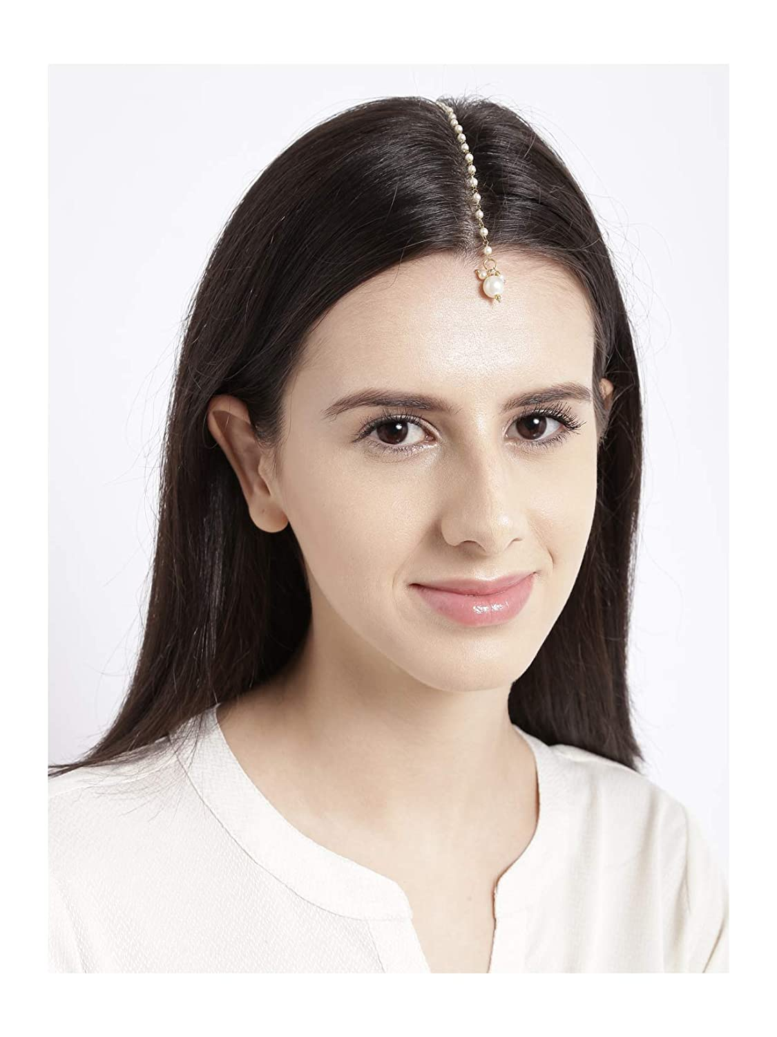 Ratna Beautiful Full Pearl Made Party Style Ethnic Designer Maang Tikka Fore head Pearl Drop Tikka Chain Jewelry