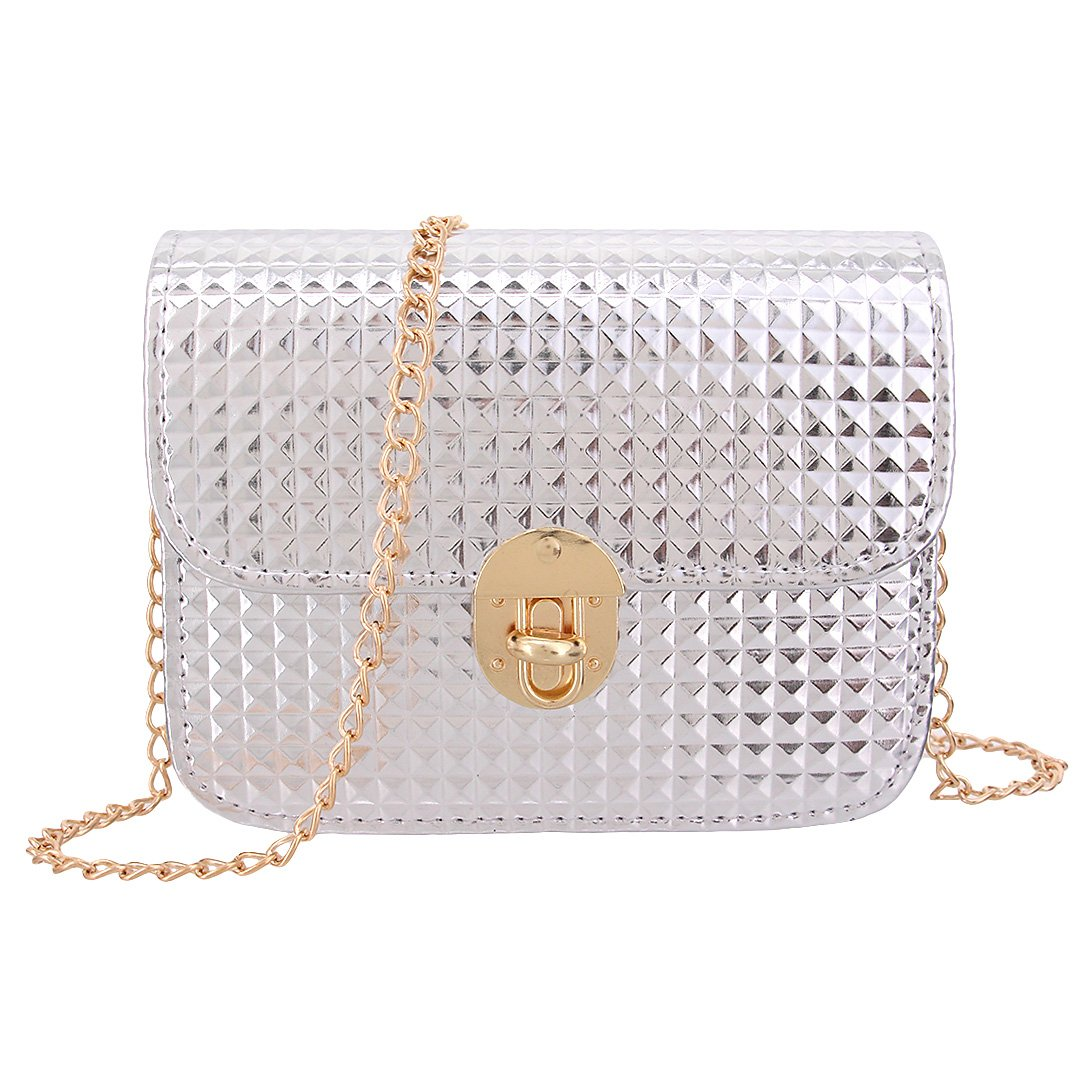 Candice Women's New Design Crossbody Mini Chain Shoulder Bag Handbag Shopping Bag Purse Coat of Paint for Girls(Silver)