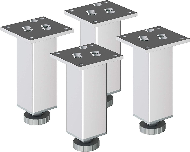 sossai® Exklusiv - Aluminium Patas para muebles | E4MF-H | 4 piezas | Altura regulable: 200mm (+20mm) | Diseño: Aluminium | Tornillos incluidos